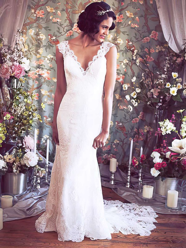 Nicest Trumpet/Mermaid V-neck with Buttons Ivory Lace Wedding Dresses #PDS00021351