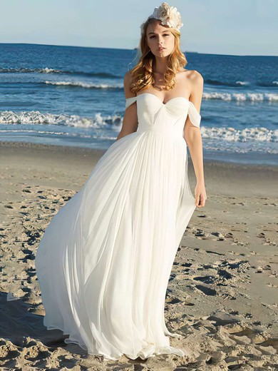 Chiffon A-line Off-the-shoulder Floor-length Ruffles Wedding Dresses #PDS00021352