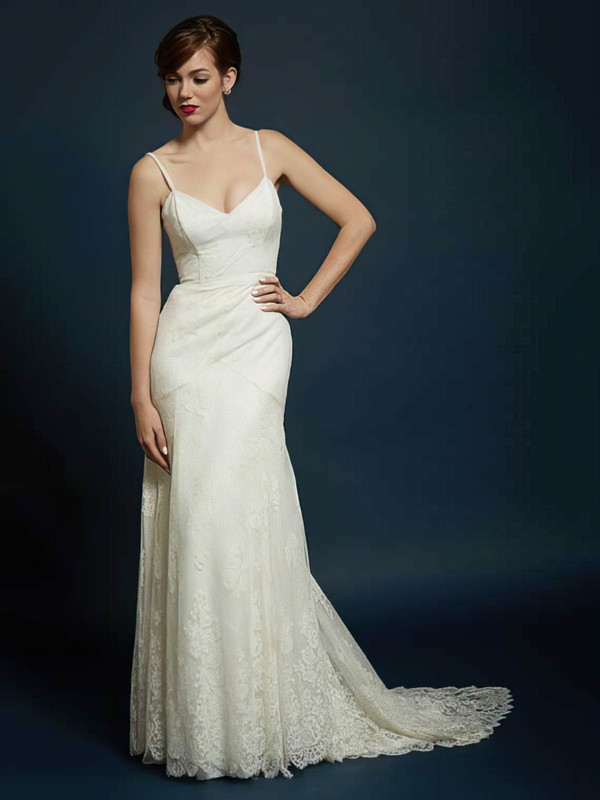 Ivory Lace Sweetheart with Spaghetti Straps Backless Trumpet/Mermaid Wedding Dress #PDS00021353
