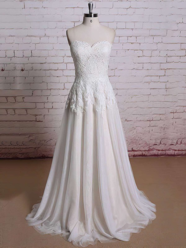 Boutique Ball Gown Flower(s) Sweetheart Ivory Lace Chiffon Wedding Dresses #PDS00021354