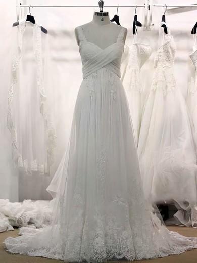 Original Sweetheart Appliques Lace White Tulle Court Train Wedding Dresses #PDS00021355