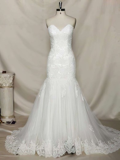 Exclusive Trumpet/Mermaid Lace Tulle Lace-up Appliques Lace Sweetheart Wedding Dress #PDS00021356