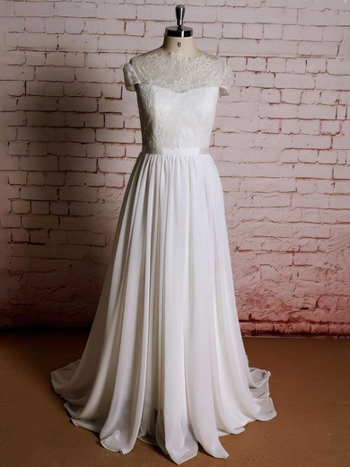 Sweep Train Lace Chiffon Ruffles Cap Straps Ivory Scoop Neck Wedding Dresses #PDS00021357