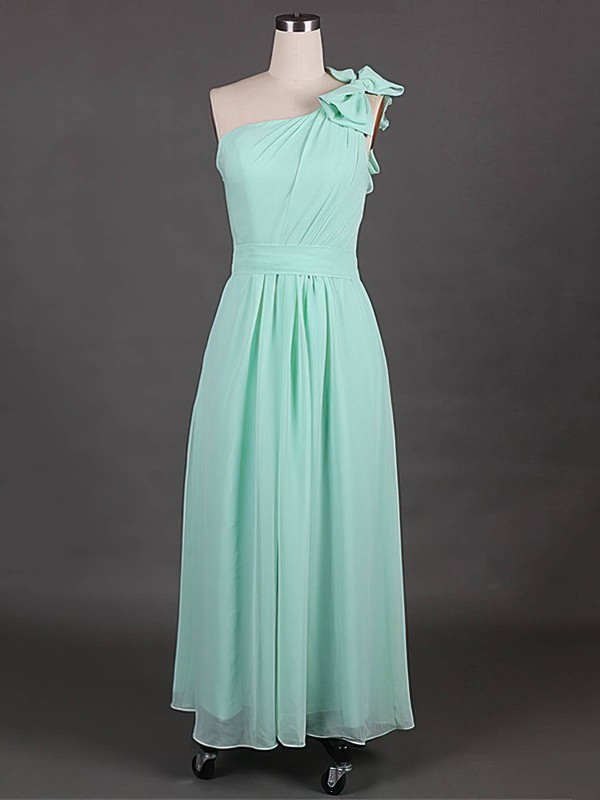 Inexpensive Sage Chiffon with Bow One Shoulder Bridesmaid Dress #PDS01012385