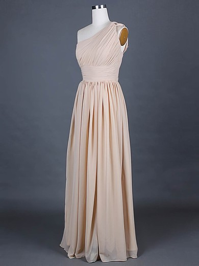Chiffon A-line One Shoulder Floor-length Ruffles Bridesmaid Dresses #PDS01012386