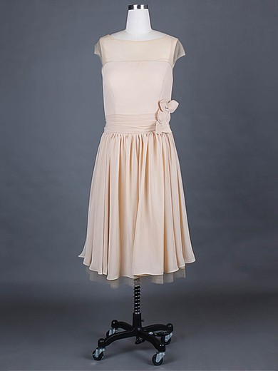 Chiffon A-line Scoop Neck Knee-length Ruffles Bridesmaid Dresses #PDS01012388