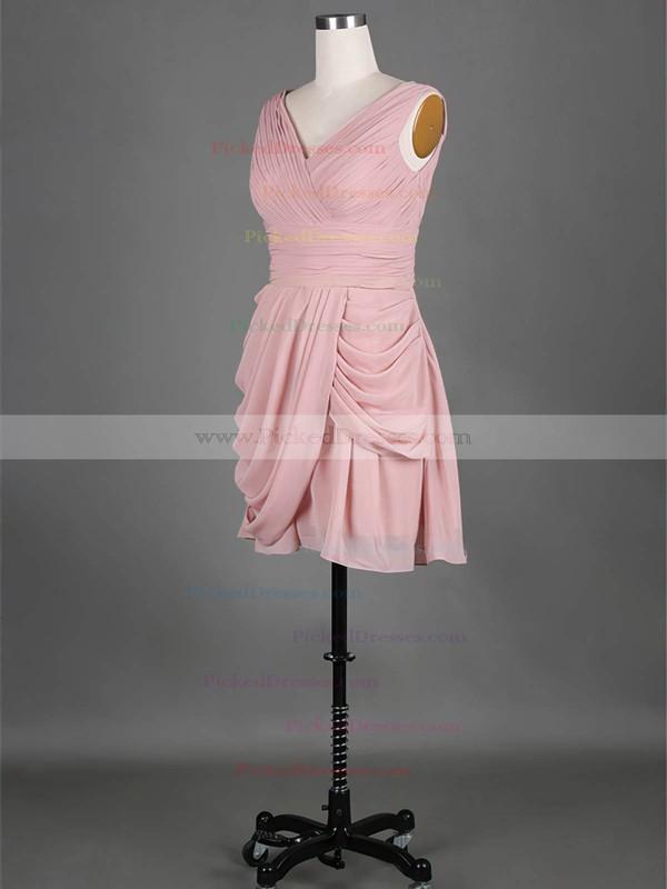 V-neck Pink Chiffon Pleats Pretty Short/Mini Bridesmaid Dress #PDS01012389
