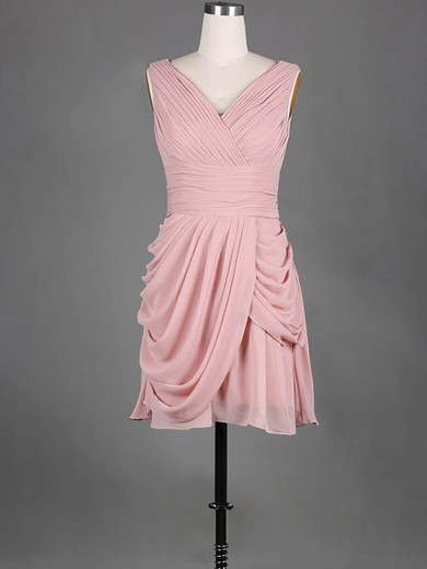 V-neck Pink Chiffon Pleats Pretty Short/Mini Bridesmaid Dress #PDS01012389