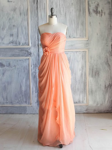 Orange Chiffon with Flower(s) Sweetheart Lace-up Long Bridesmaid Dress #PDS01012392