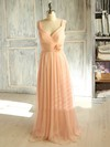 Classy Floor-length Pink Chiffon with Flower(s) V-neck Bridesmaid Dress #PDS01012398
