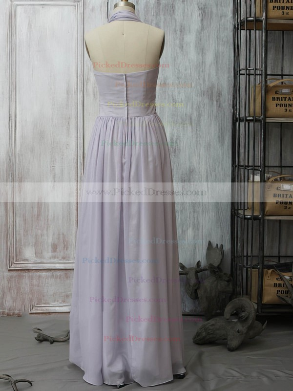 Lavender Chiffon with Ruffles Promotion Halter Bridesmaid Dress #PDS01012399