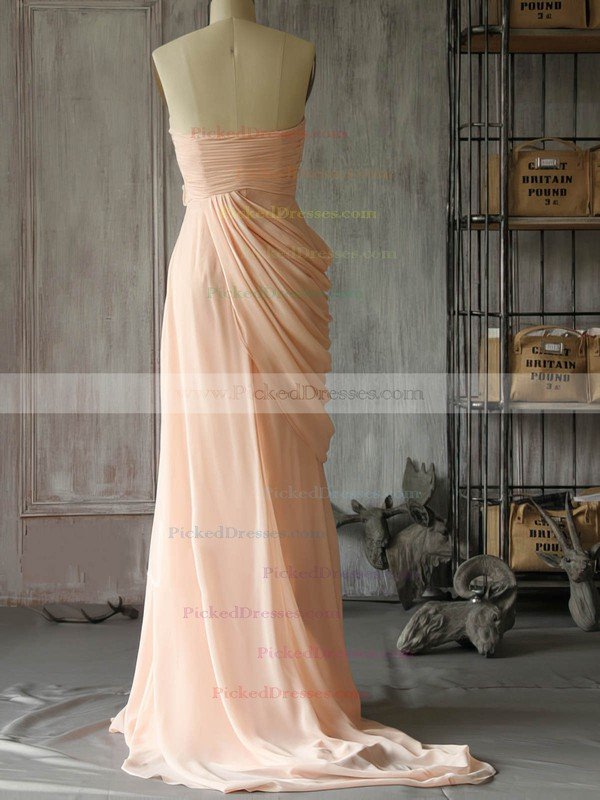 Expensive Pink Chiffon with Flower(s) Sweep Train Bridesmaid Dress #PDS01012400