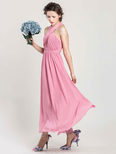 Ankle-length Pink Chiffon Open Back Perfect Halter Bridesmaid Dress #PDS01012402