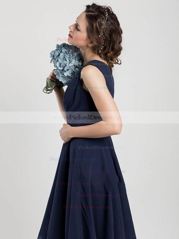 Different V-neck Knee-length Chiffon Ruffles Dark Navy Bridesmaid Dress #PDS01012403