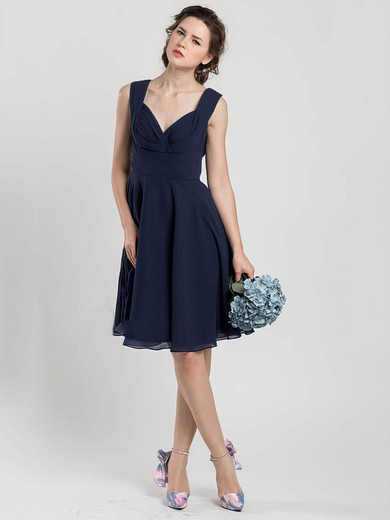Different V-neck Knee-length Chiffon Ruffles Dark Navy Bridesmaid Dress #PDS01012403