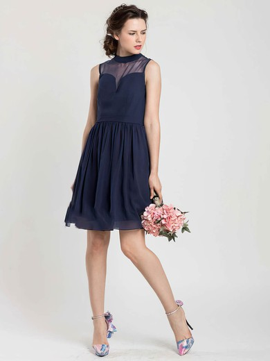 Dark Navy Chiffon Tulle New Short/Mini High Neck Bridesmaid Dress #PDS01012404