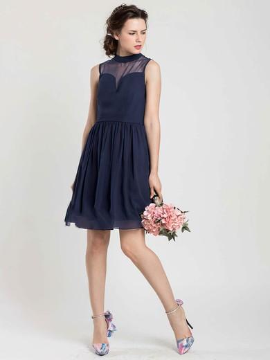 Dark Navy Chiffon Tulle New Short/Mini High Neck Bridesmaid Dress #PDS01012404