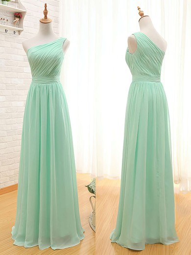Discount Sage Chiffon with Ruffles One Shoulder Bridesmaid Dresses #PDS01012405
