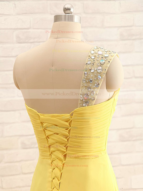 One Shoulder Chiffon with Crystal Detailing Yellow Latest Bridesmaid Dresses #PDS01012406