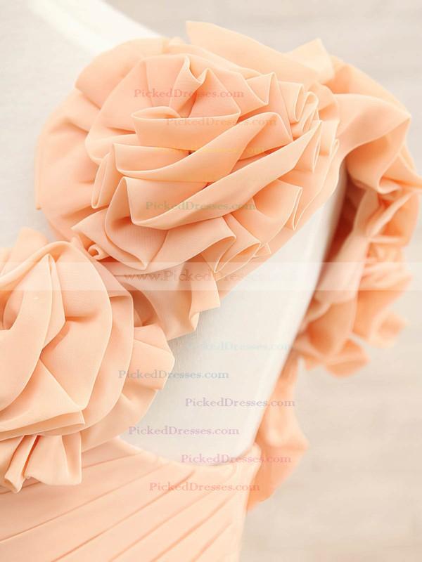 Popular Orange Chiffon Flower(s) Lace-up One Shoulder Bridesmaid Dresses #PDS01012408