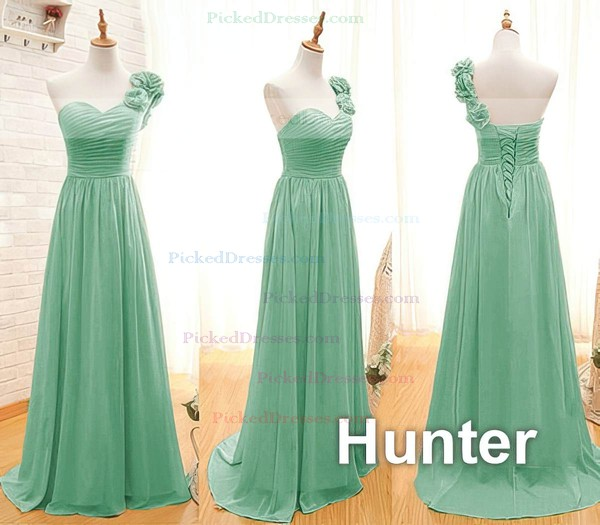 Popular Orange Chiffon Flower(s) Lace-up One Shoulder Bridesmaid Dresses #PDS01012408
