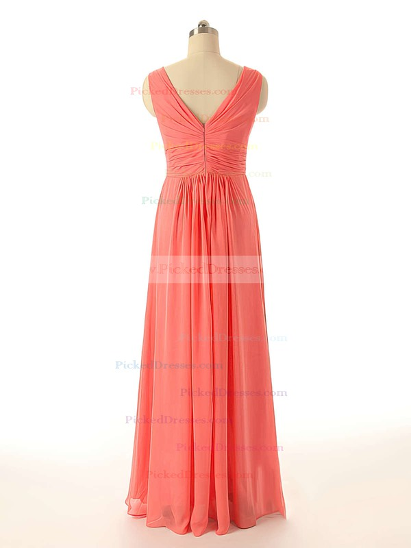 Watermelon Chiffon with Flower(s) V-neck Exclusive Bridesmaid Dresses #PDS01012409