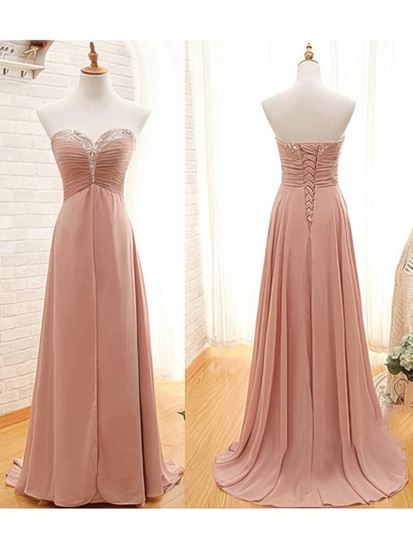 Chiffon A-line Sweetheart Sweep Train Beading Bridesmaid Dresses #PDS01012410