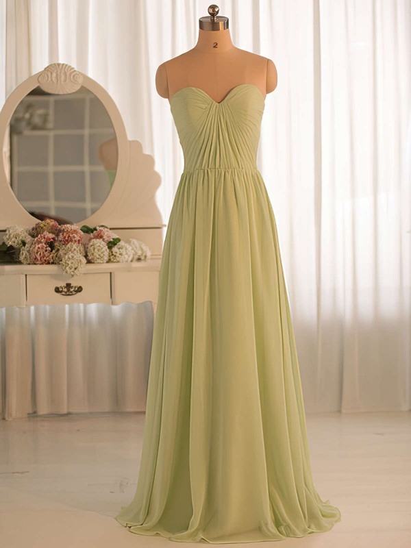 Sweetheart Sage Chiffon Ruffles Floor-length Gorgeous Bridesmaid Dresses #PDS01012412