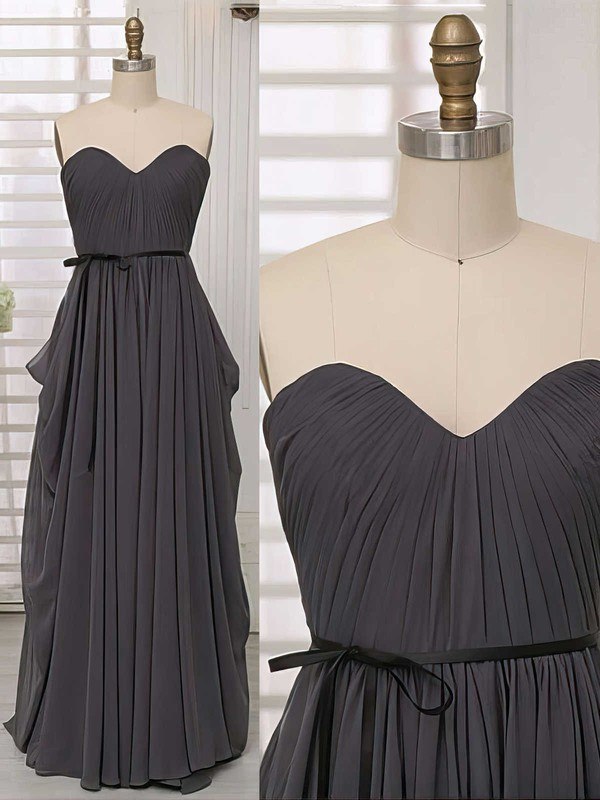 Boutique Sweetheart Gray Chiffon with Sashes/Ribbons Bridesmaid Dresses #PDS01012414