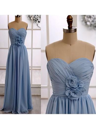 Chiffon Ruffles Floor-length Prettiest Light Sky Blue Bridesmaid Dresses #PDS01012415