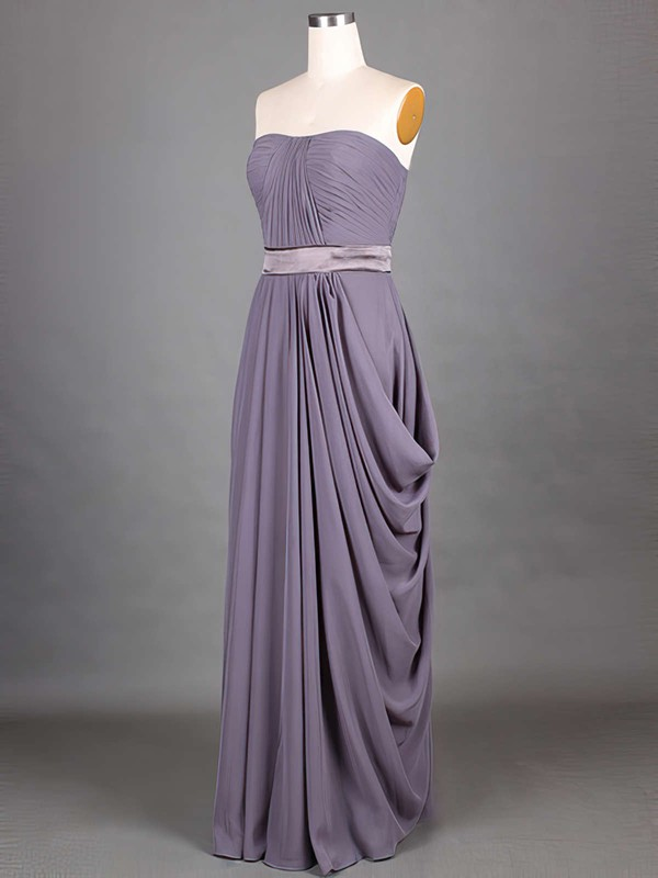 Good A-line Grape Chiffon Sashes/Ribbons Strapless Bridesmaid Dresses #PDS01012417
