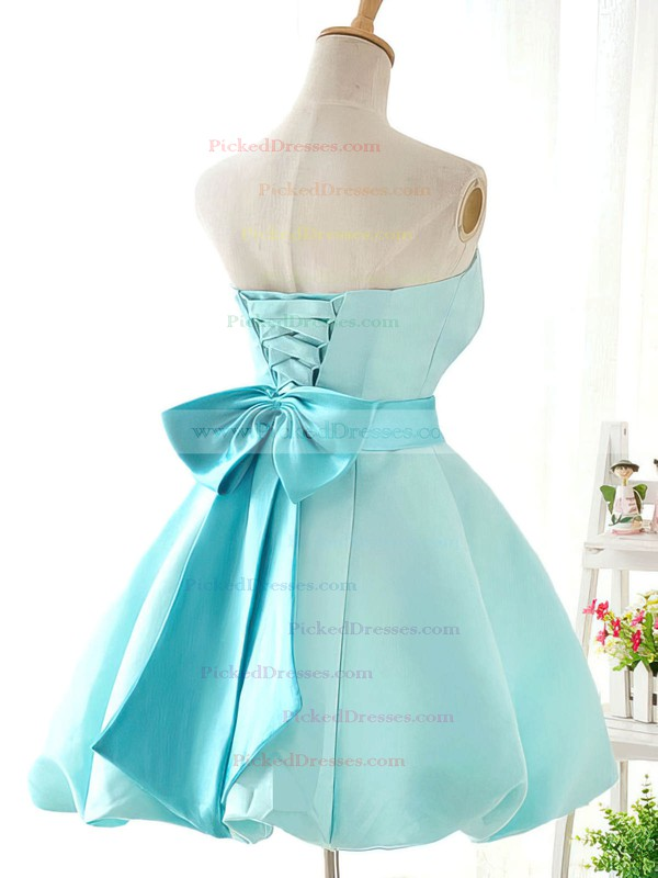 Ball Gown Blue Satin with Sashes/Ribbons Funky Short/Mini Bridesmaid Dresses #PDS01012419
