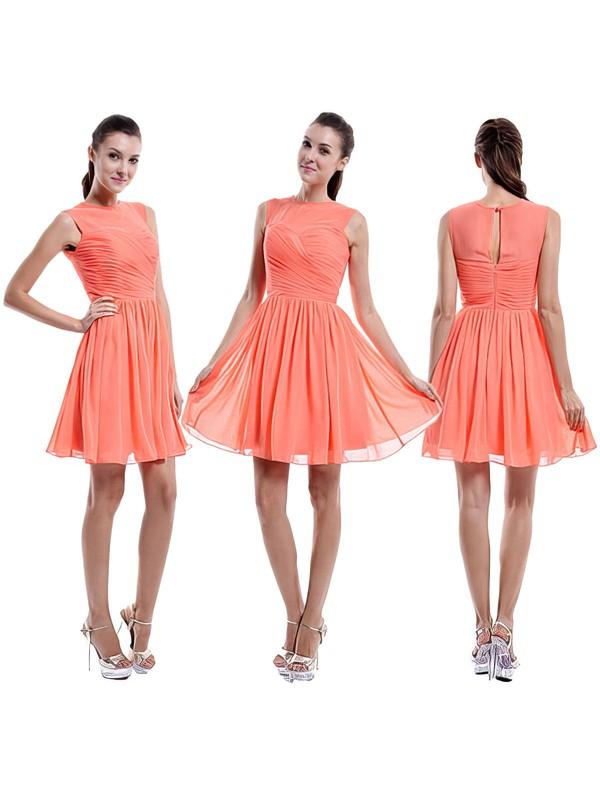 Newest Short/Mini Chiffon Scoop Neck Ruffles Orange Bridesmaid Dress #PDS01012421
