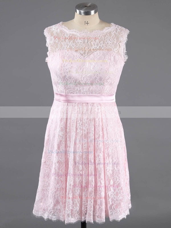 Scoop Neck Ivory Lace Sashes/Ribbons Knee-length Discounted Bridesmaid Dress #PDS01012422