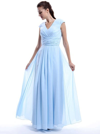 Great V-neck Chiffon Cap Straps Ruffles Light Sky Blue Bridesmaid Dress #PDS01012423