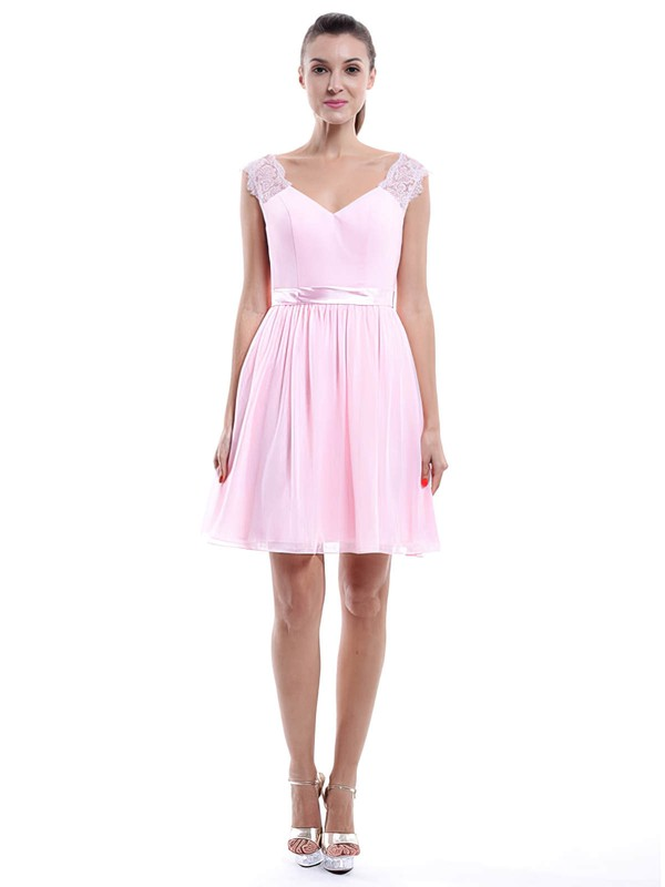 Pearl Pink Chiffon Lace V-neck Short/Mini Cheap Bridesmaid Dress #PDS01012424