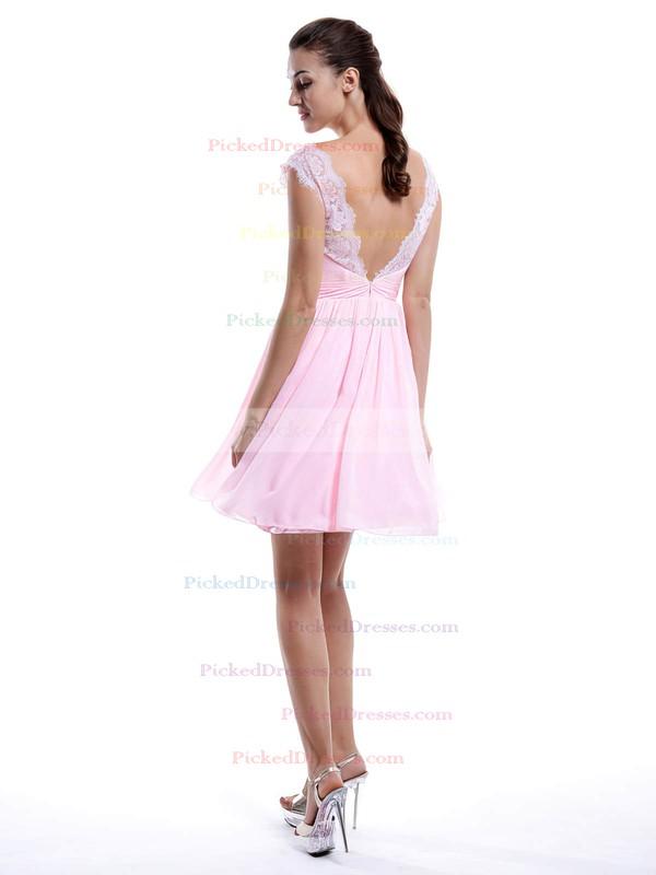 Pearl Pink Chiffon Lace V-neck Short/Mini Cheap Bridesmaid Dress #PDS01012424