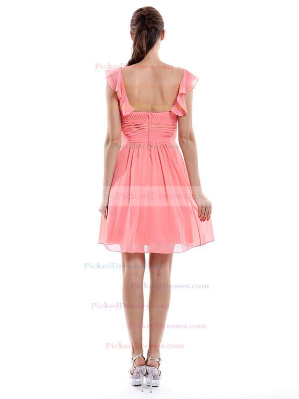 Fashion Sweetheart Watermelon Ruffles Chiffon Short/Mini Bridesmaid Dress #PDS01012426