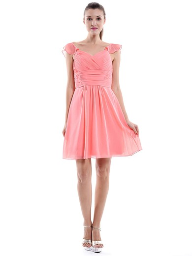 Fashion Sweetheart Watermelon Ruffles Chiffon Short/Mini Bridesmaid Dress #PDS01012426