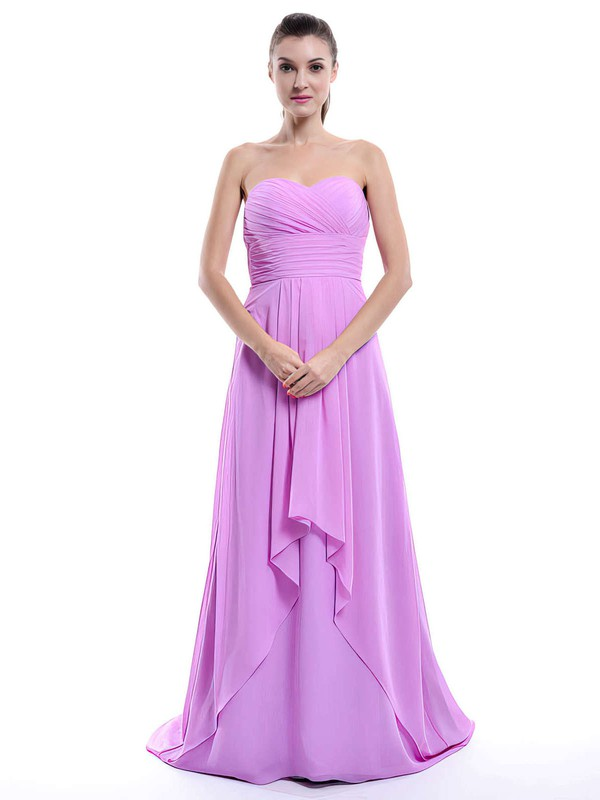 Sweep Train Lilac Chiffon Ruffles Sweetheart Amazing Bridesmaid Dress #PDS01012429