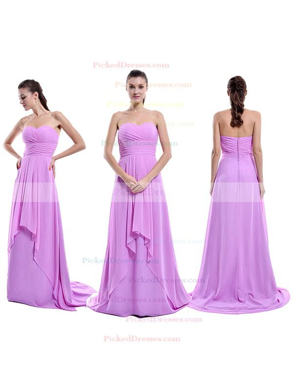 Sweep Train Lilac Chiffon Ruffles Sweetheart Amazing Bridesmaid Dress #PDS01012429