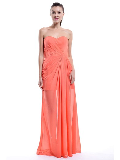 Junior Sweetheart Chiffon Ruffles A-line Orange Bridesmaid Dress #PDS01012430