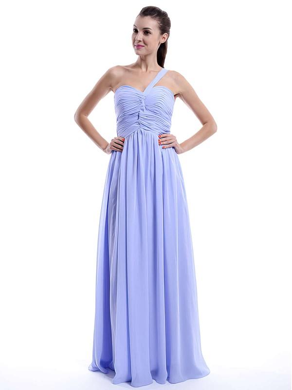 Lilac Ruffles Chiffon A-line Sparkly One Shoulder Bridesmaid Dress #PDS01012431