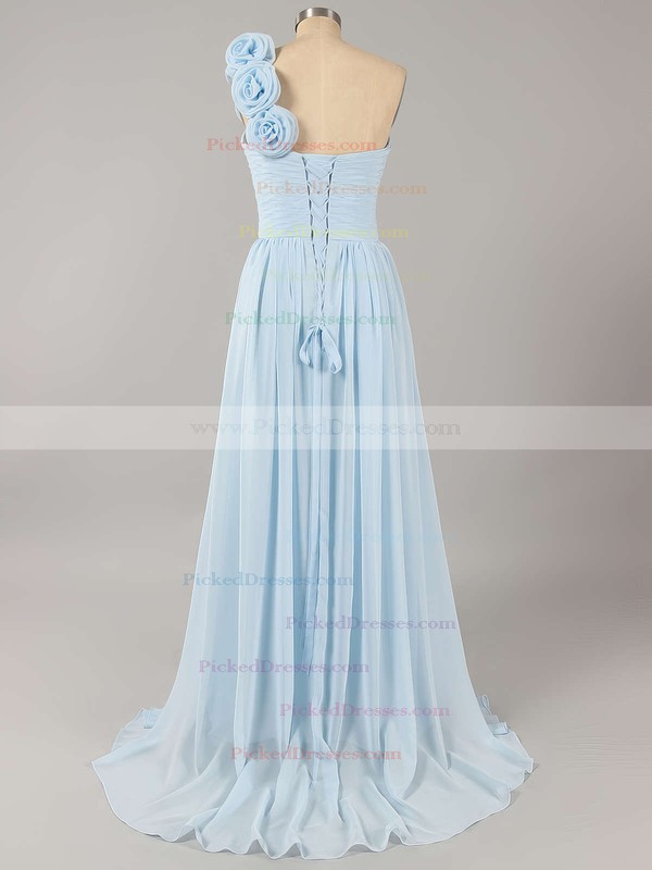 Promotion Orange Chiffon Lace-up with Flower(s) One Shoulder Bridesmaid Dress #PDS01012434