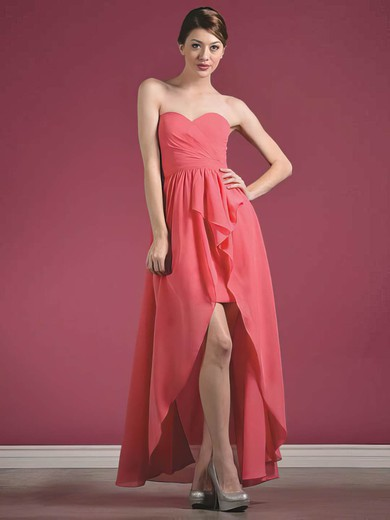 Chiffon A-line Sweetheart Asymmetrical Ruffles Bridesmaid Dresses #PDS01012435