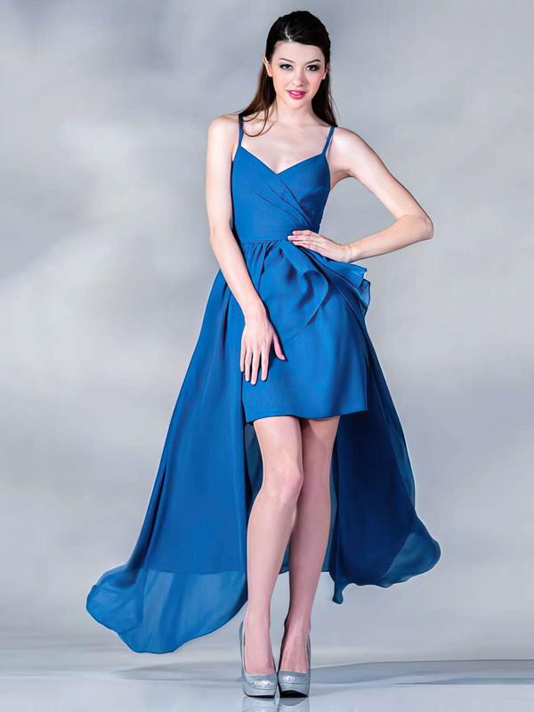 Chiffon A-line V-neck Asymmetrical Ruffles Bridesmaid Dresses #PDS01012437