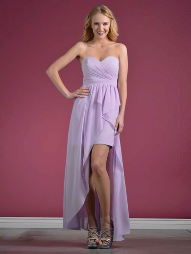 Chiffon A-line Sweetheart Asymmetrical Ruffles Bridesmaid Dresses #PDS01012438