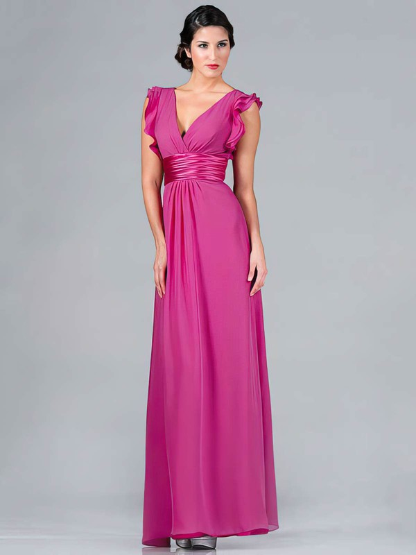 Chiffon A-line V-neck Floor-length Ruffles Bridesmaid Dresses #PDS01012439