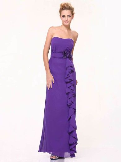 Chiffon Sheath/Column Sweetheart Floor-length Ruffles Bridesmaid Dresses #PDS01012440
