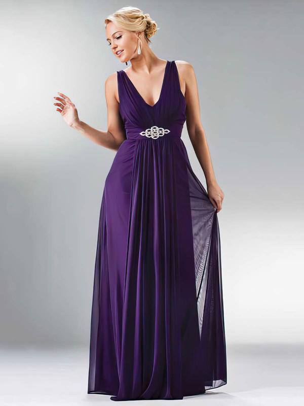 Chiffon A-line V-neck Floor-length Beading Bridesmaid Dresses #PDS01012441